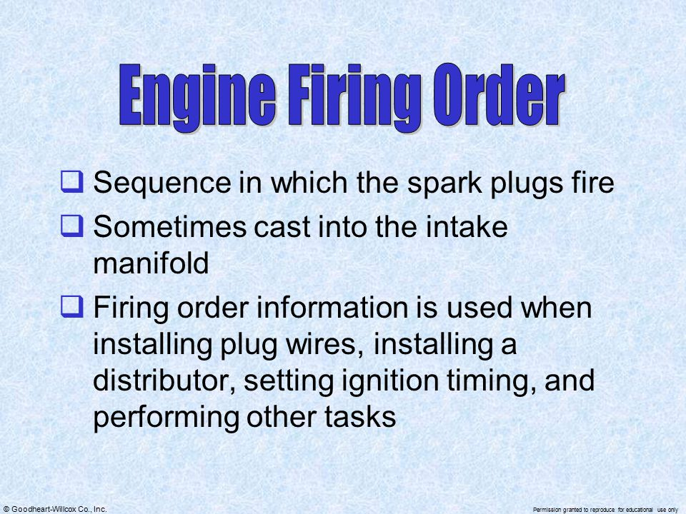 Engine Firing Order Sequence in which the spark plugs fire