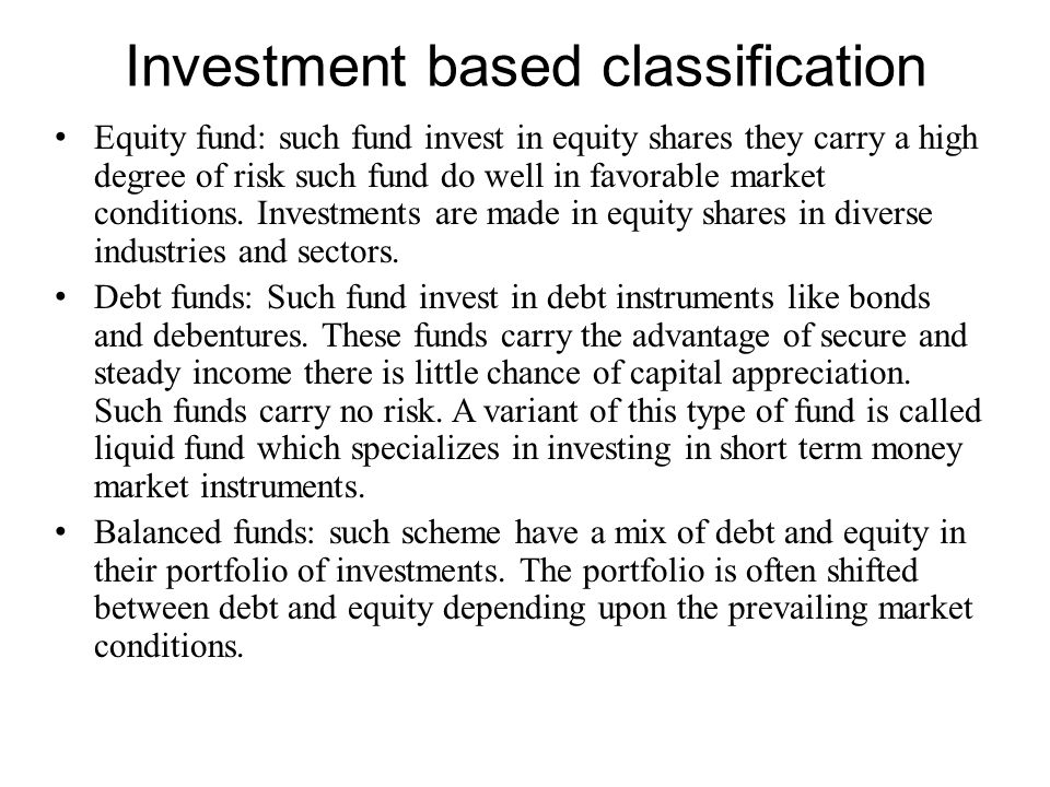 Investment based classification