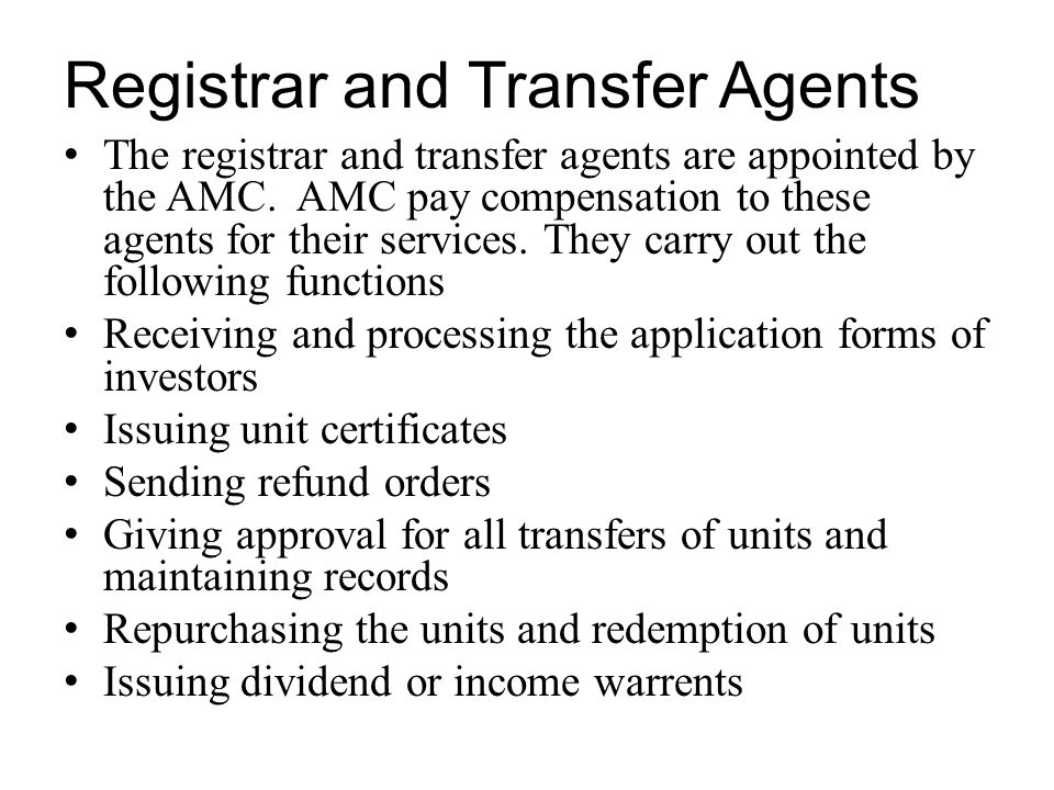 Registrar and Transfer Agents