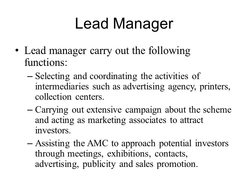 Lead Manager Lead manager carry out the following functions: