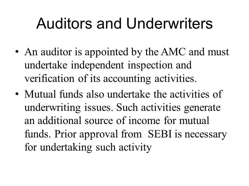 Auditors and Underwriters