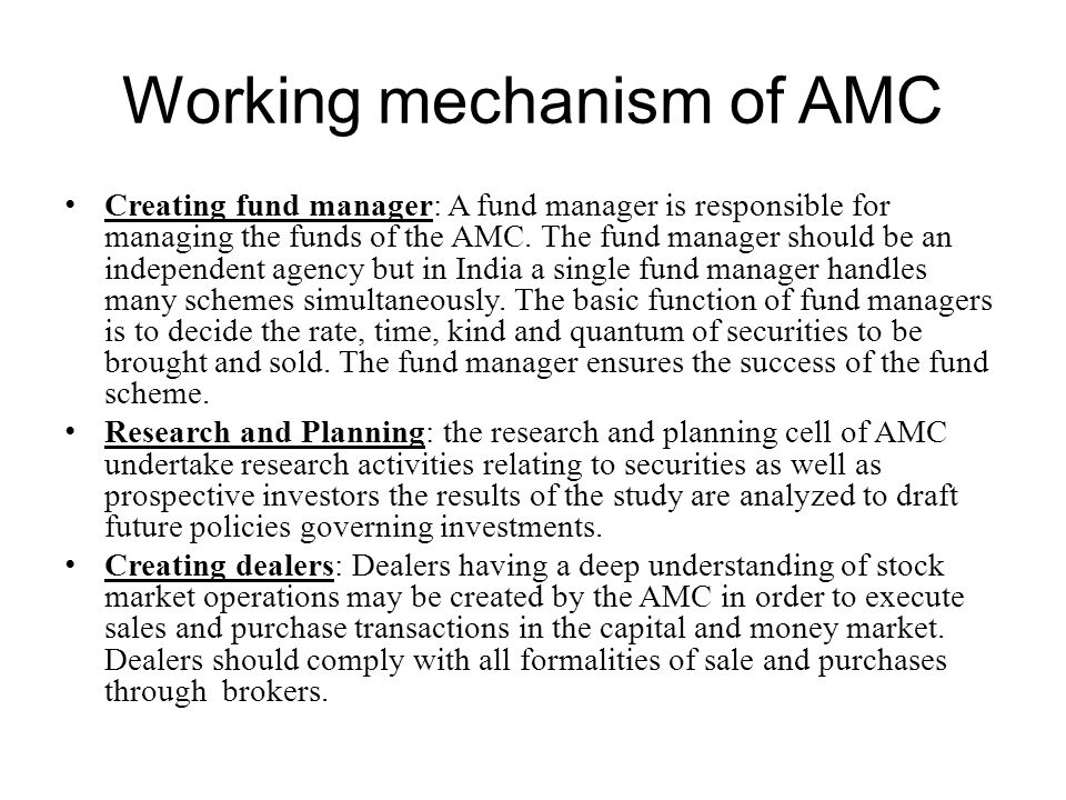 Working mechanism of AMC