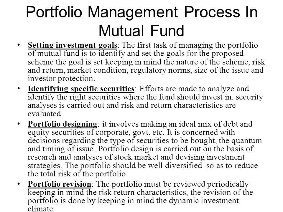 Portfolio Management Process In Mutual Fund