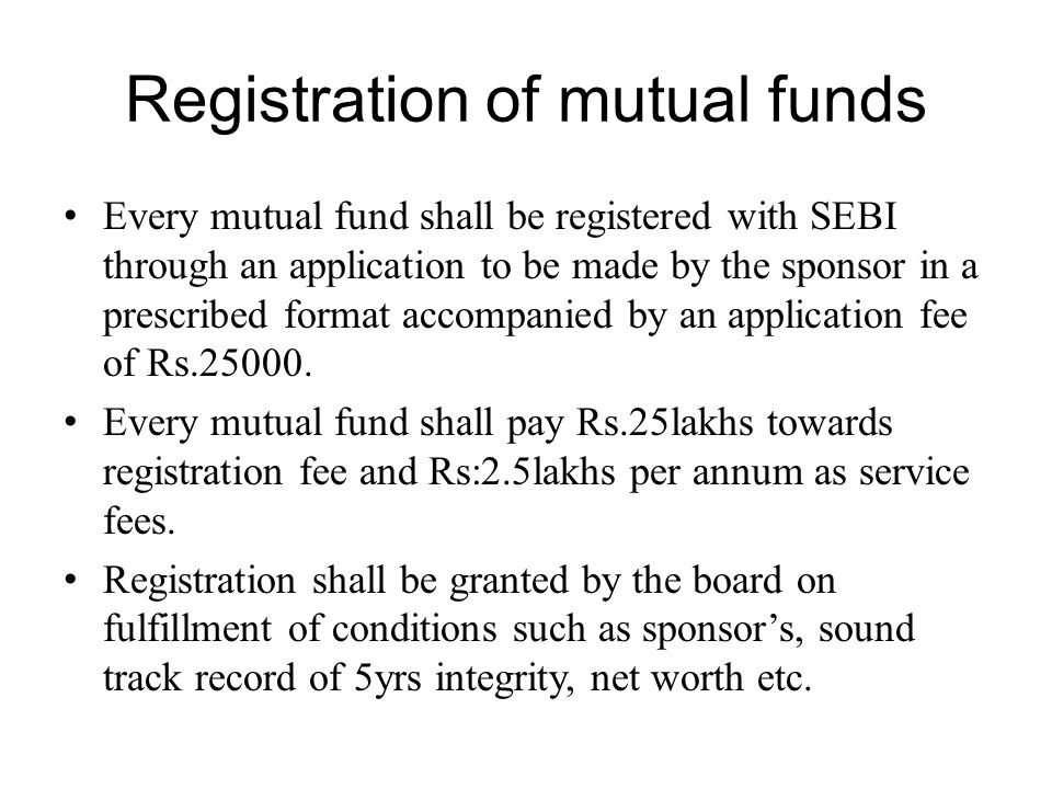 Registration of mutual funds