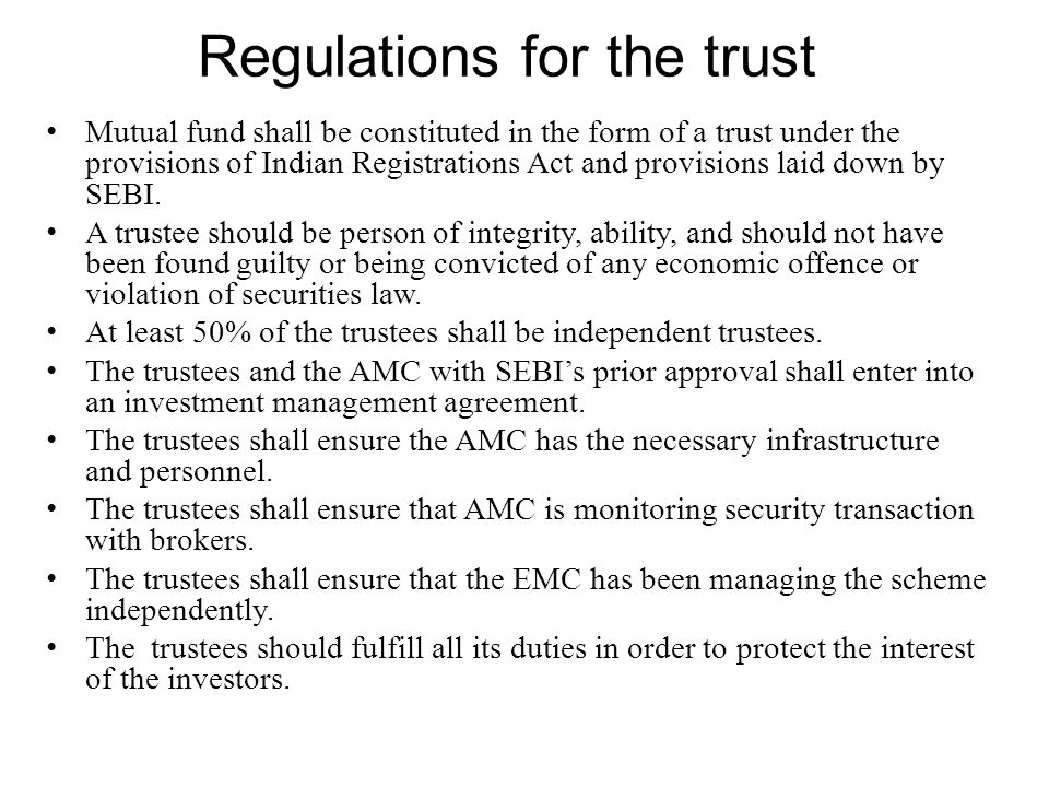 Regulations for the trust