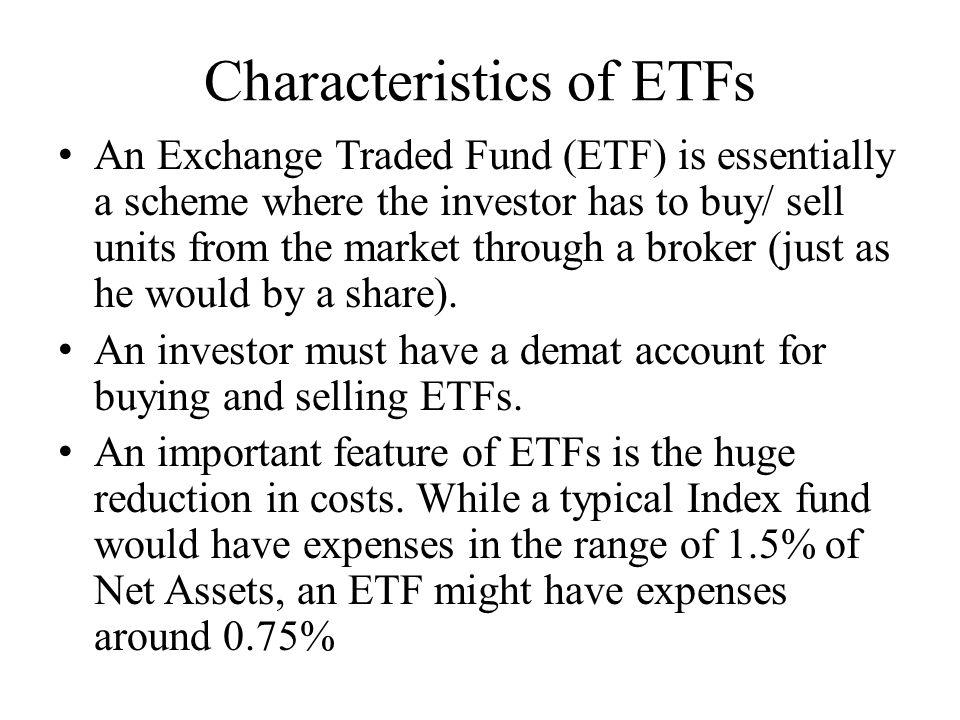 Characteristics of ETFs