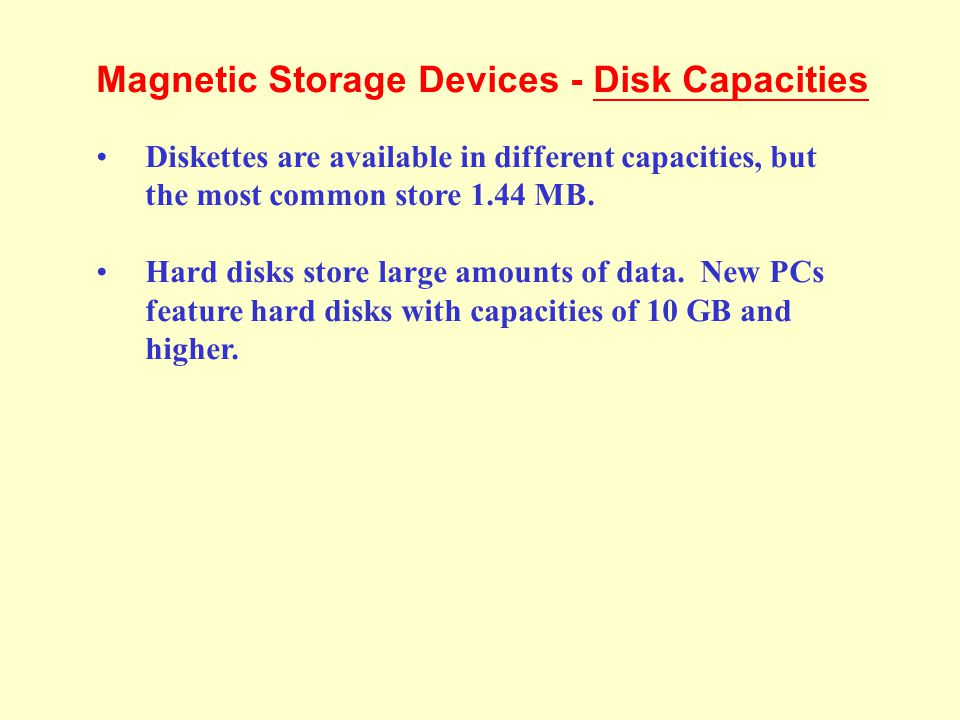 Magnetic Storage Devices - Disk Capacities