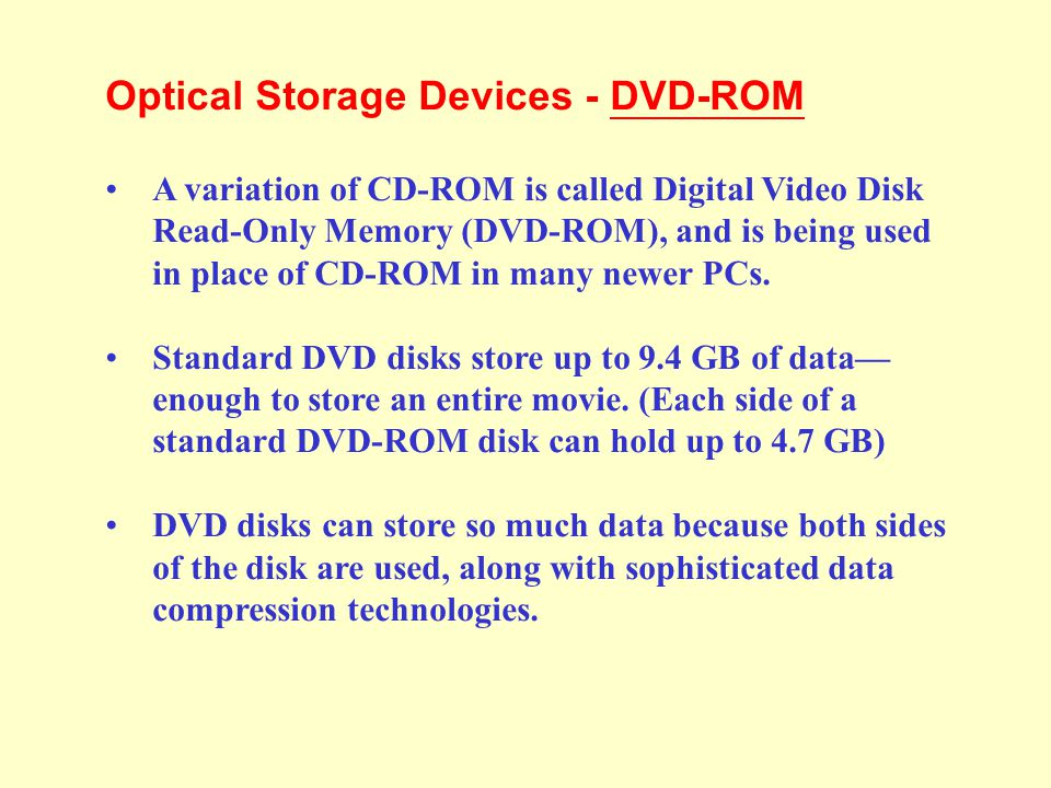 Optical Storage Devices - DVD-ROM
