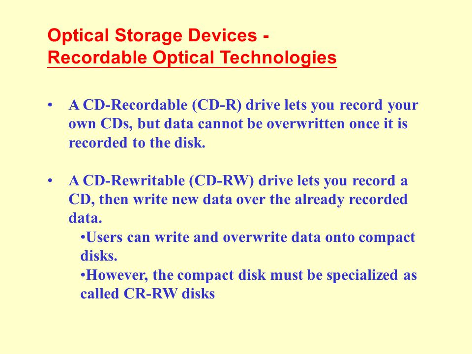 Optical Storage Devices - Recordable Optical Technologies
