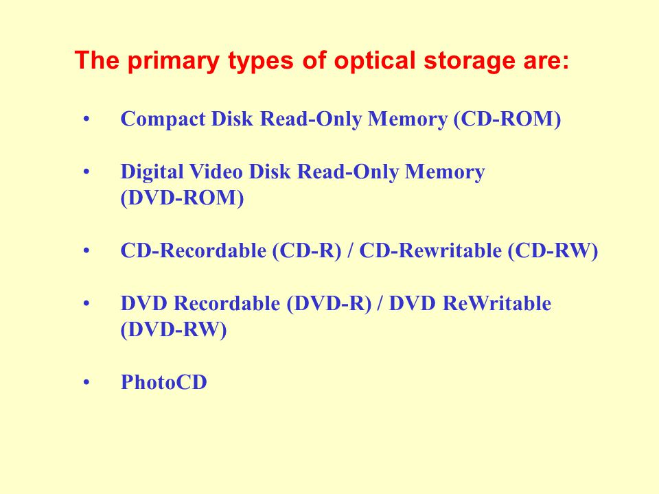 The primary types of optical storage are: