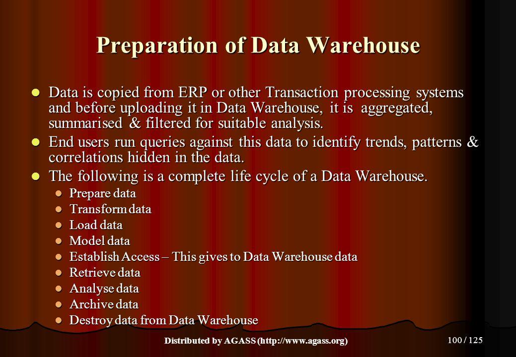 Preparation of Data Warehouse