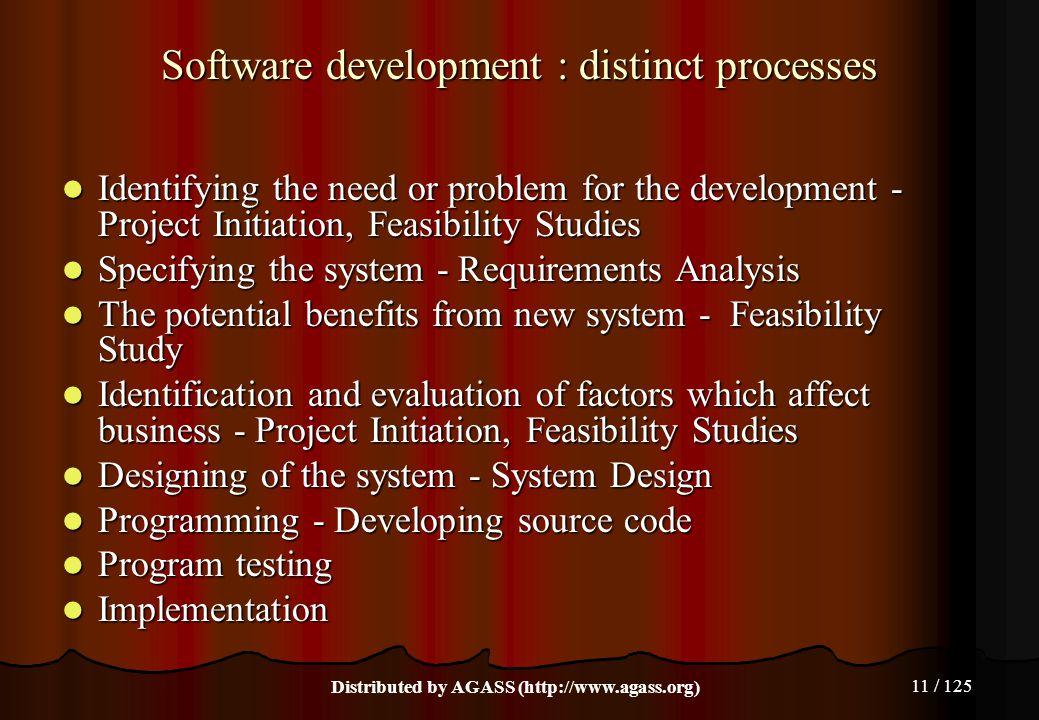 Software development : distinct processes