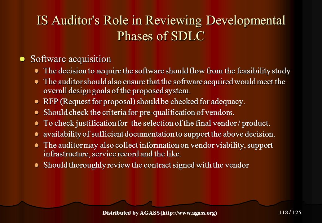 IS Auditor s Role in Reviewing Developmental Phases of SDLC