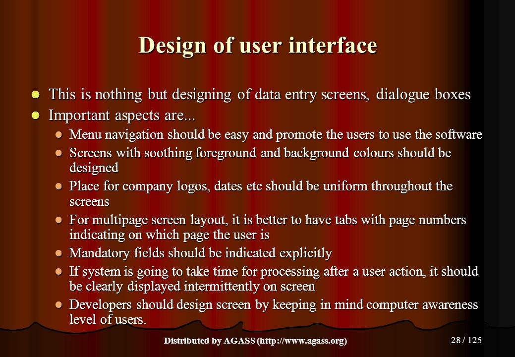 Design of user interface