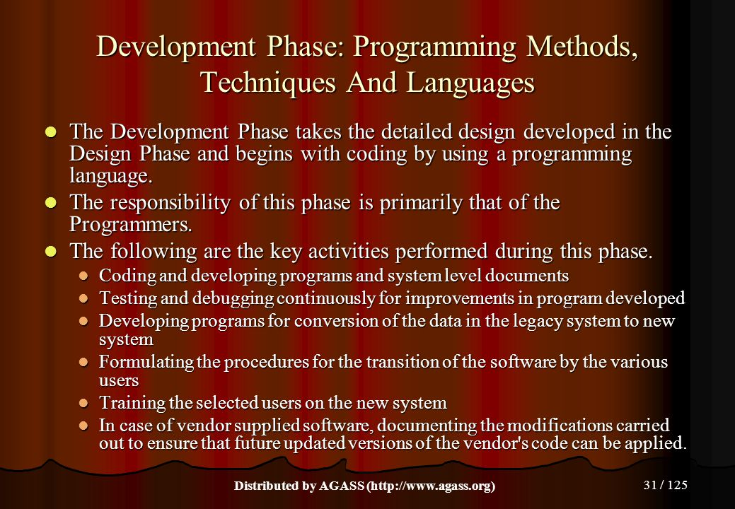 Development Phase: Programming Methods, Techniques And Languages