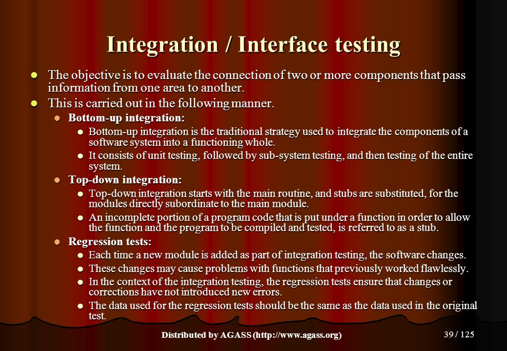 Integration / Interface testing
