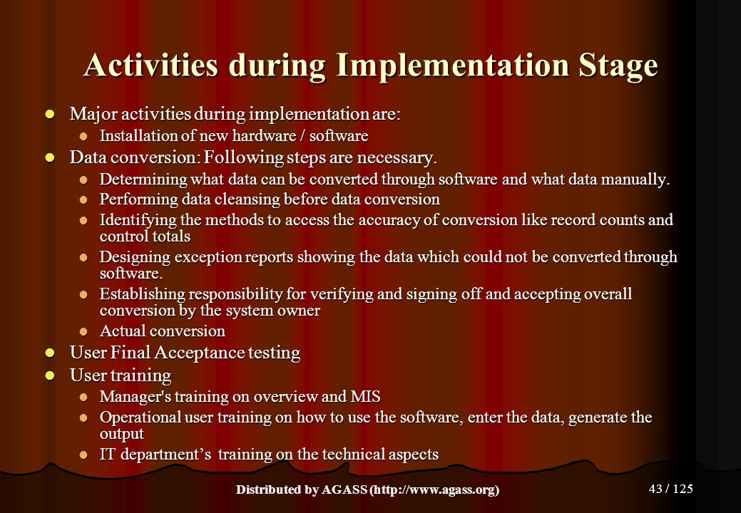 Activities during Implementation Stage