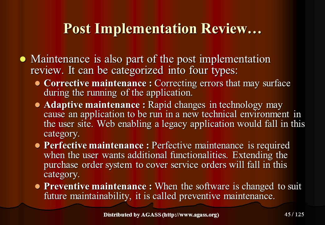 Post Implementation Review…