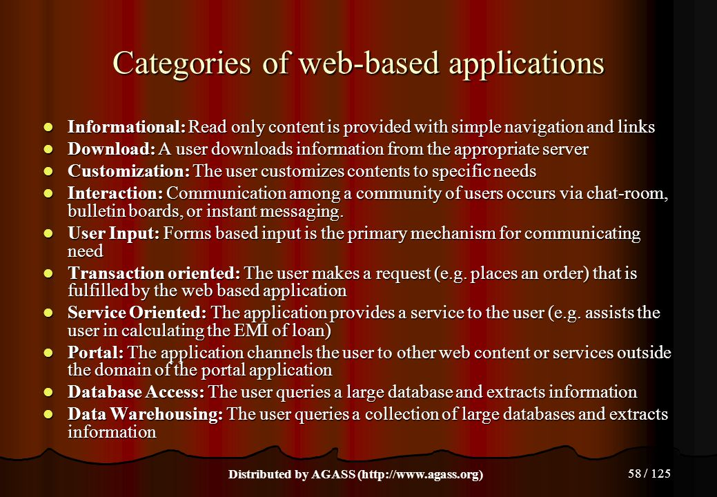 Categories of web-based applications