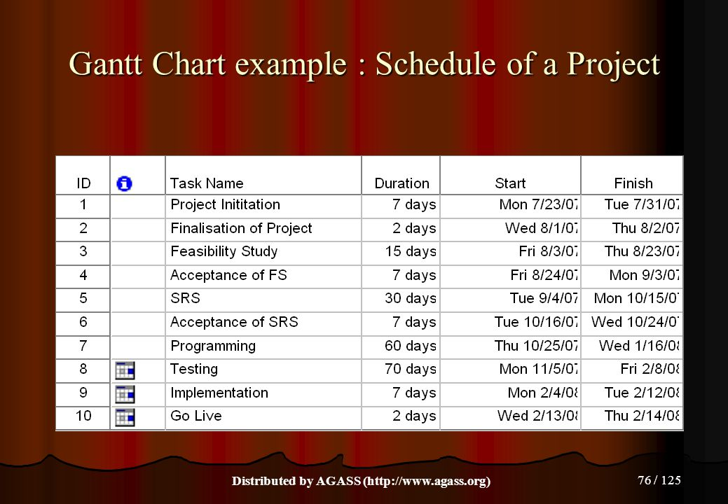 Gantt Chart example : Schedule of a Project