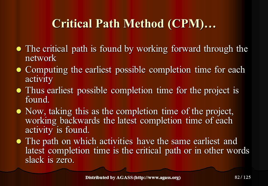 Critical Path Method (CPM)…