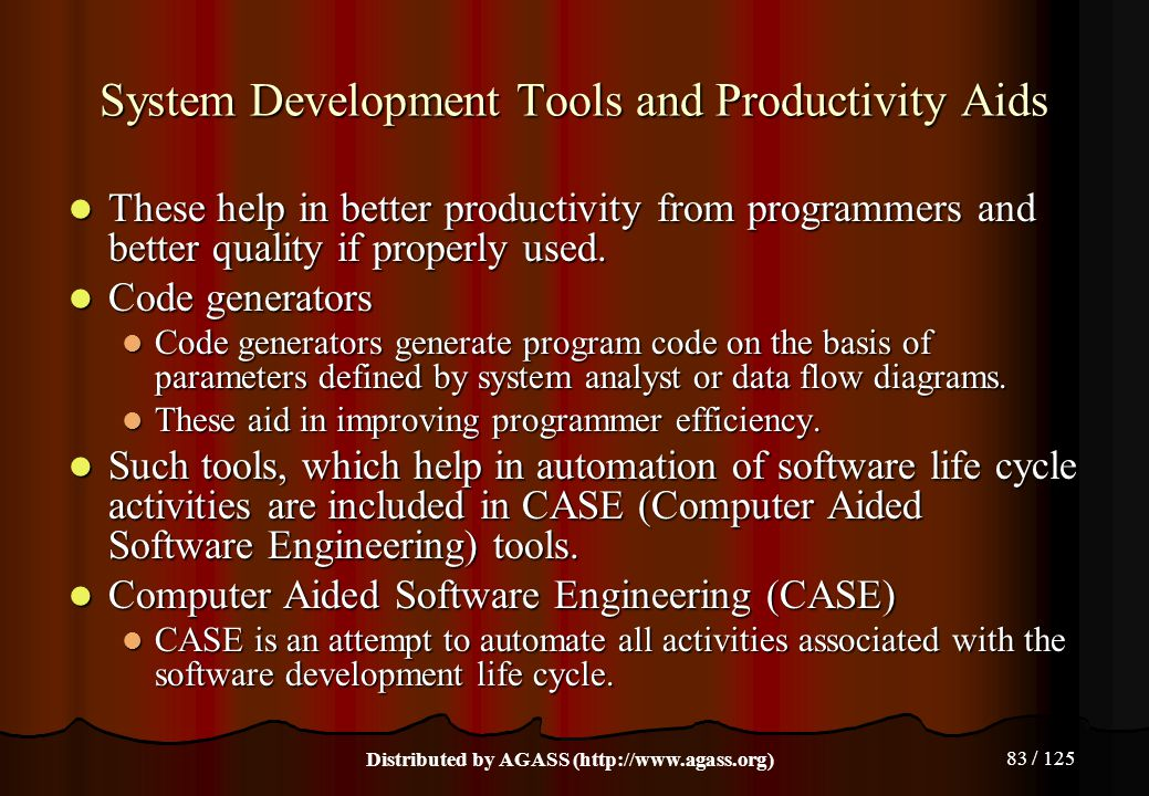 System Development Tools and Productivity Aids