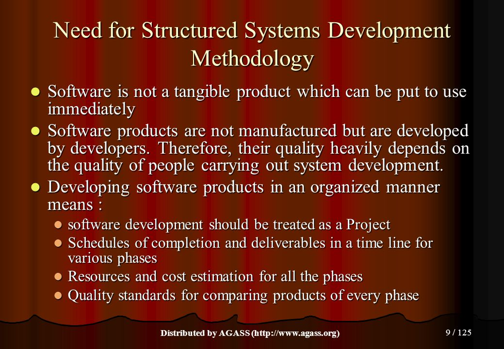 Need for Structured Systems Development Methodology