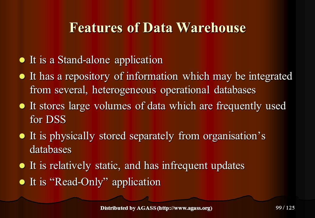 Features of Data Warehouse
