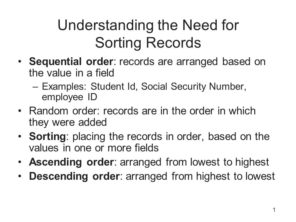 Understanding the Need for Sorting Records