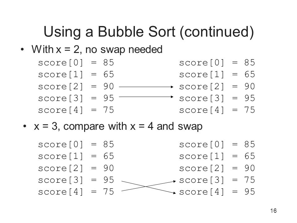 Using a Bubble Sort (continued)