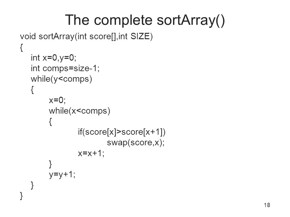 The complete sortArray()