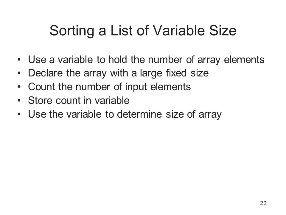 Sorting a List of Variable Size