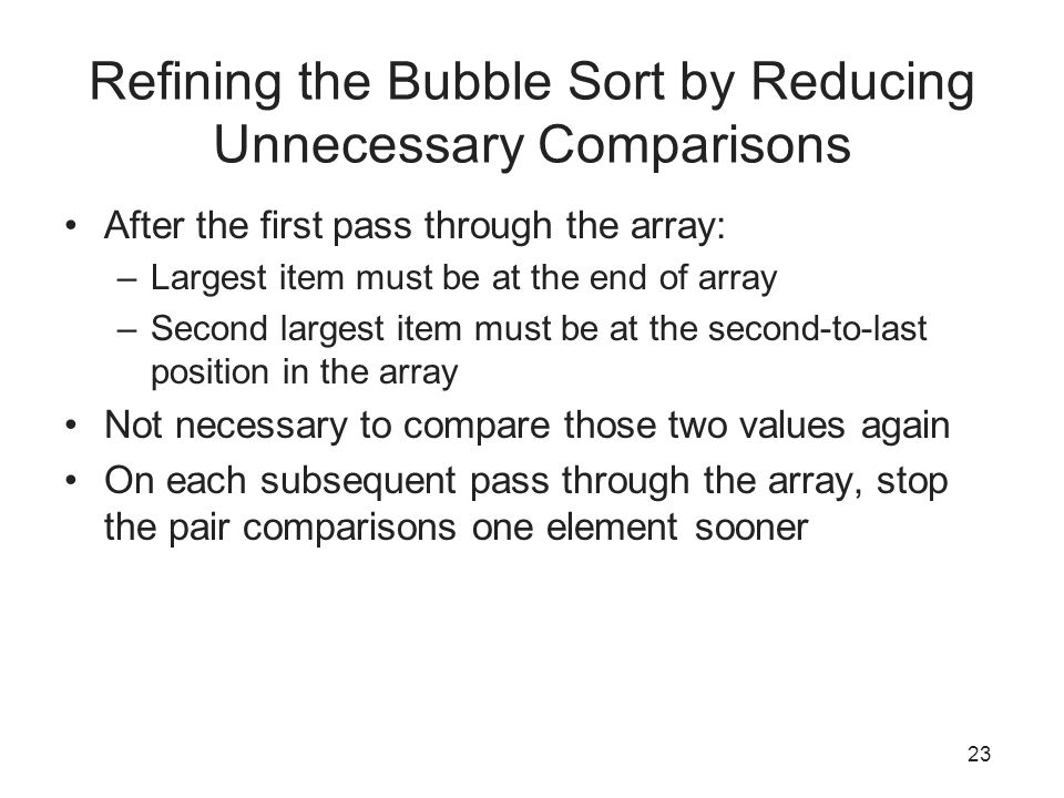 Refining the Bubble Sort by Reducing Unnecessary Comparisons