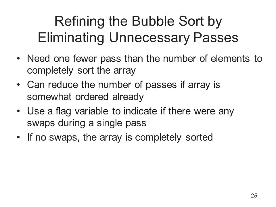 Refining the Bubble Sort by Eliminating Unnecessary Passes