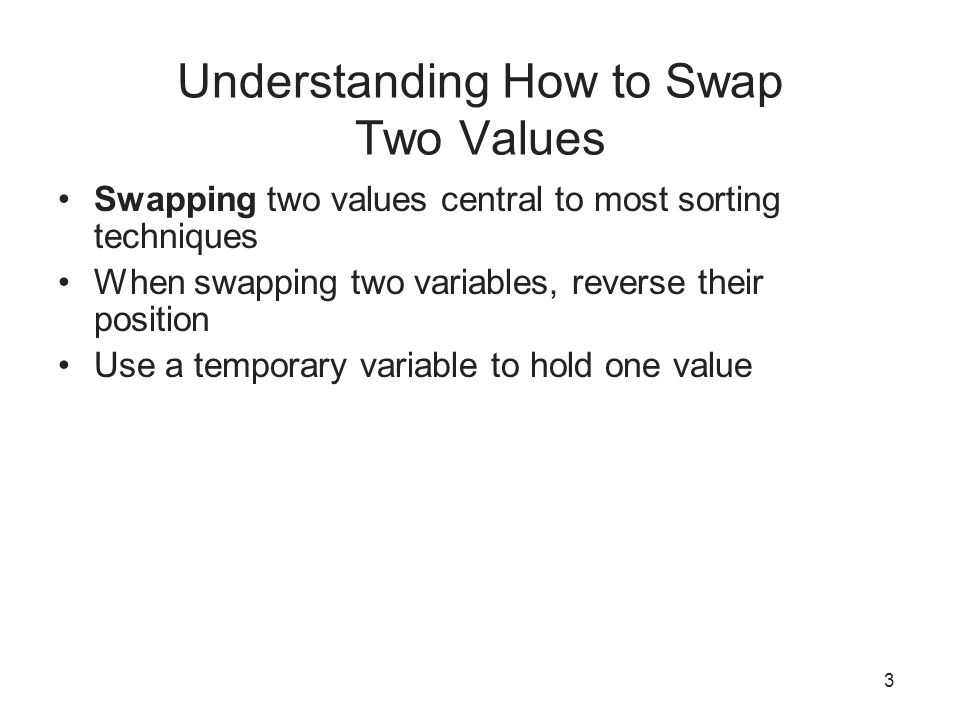 Understanding How to Swap Two Values