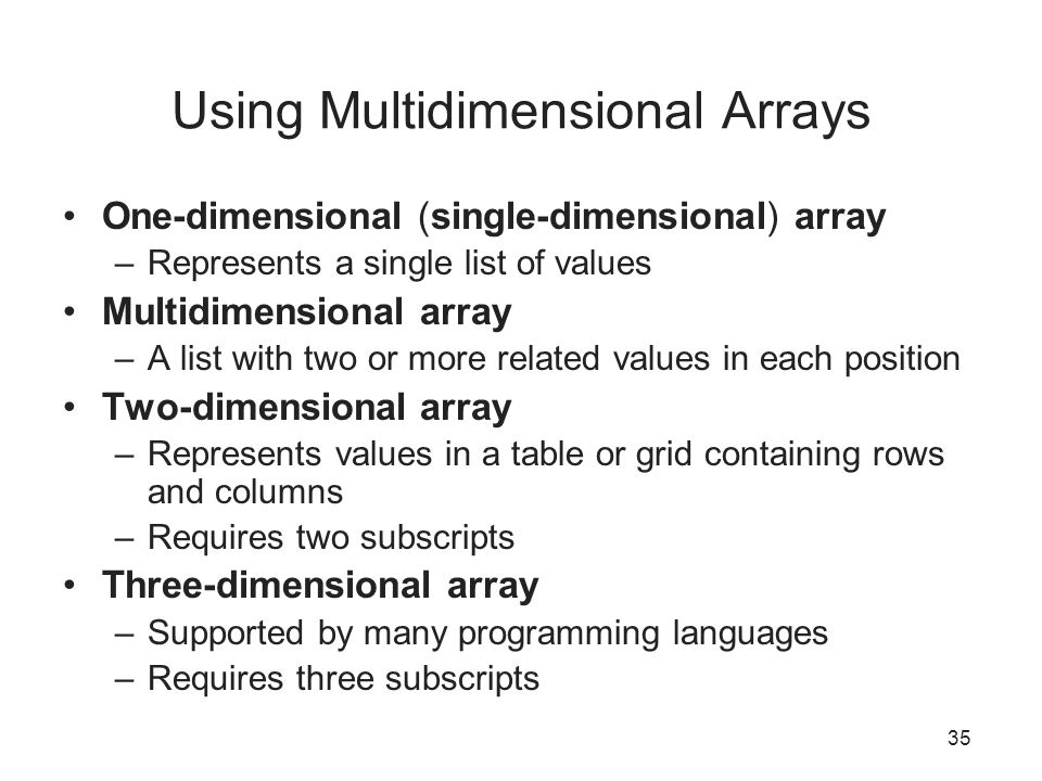Using Multidimensional Arrays