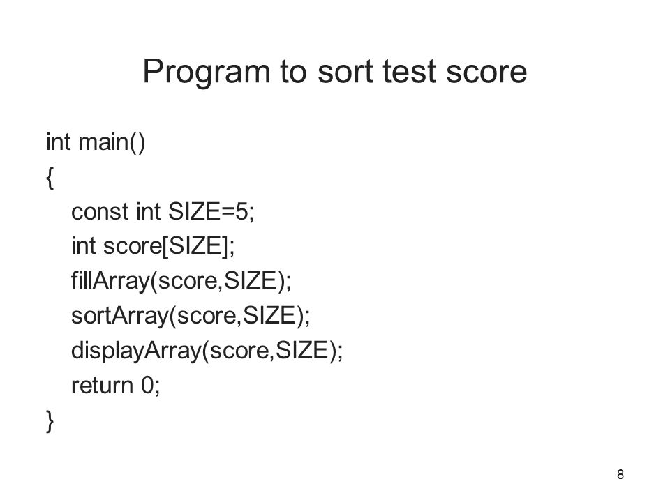 Program to sort test score