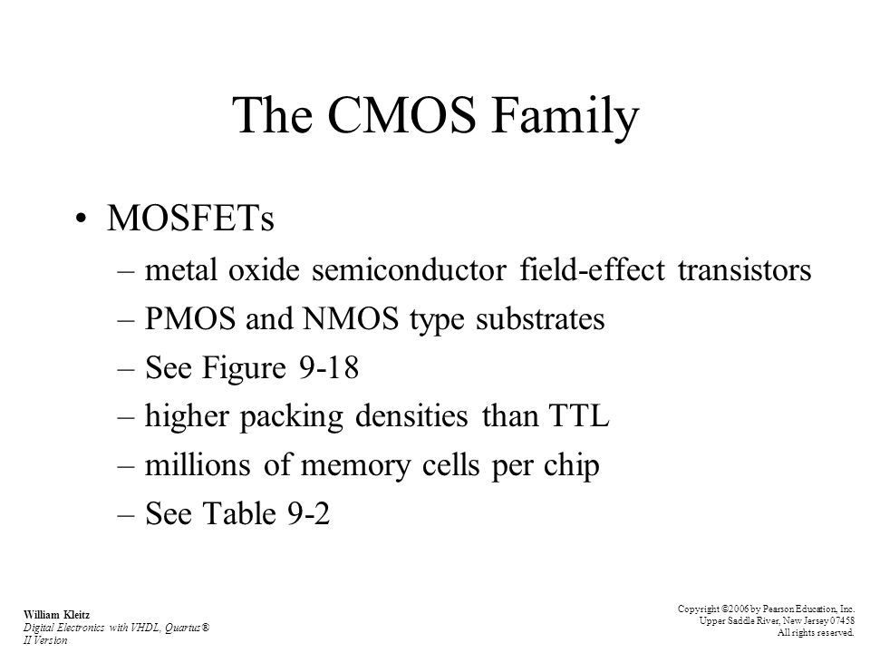 The CMOS Family MOSFETs