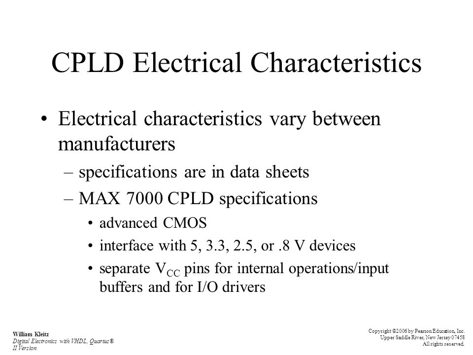 CPLD Electrical Characteristics