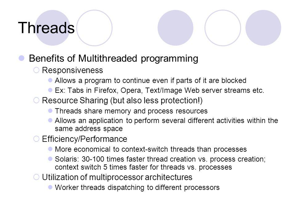 Threads Benefits of Multithreaded programming Responsiveness