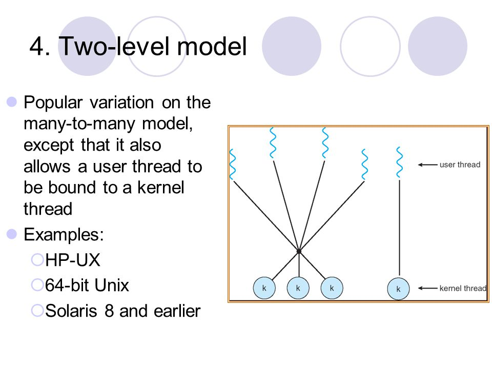 4. Two-level model Popular variation on the many-to-many model, except that it also allows a user thread to be bound to a kernel thread.