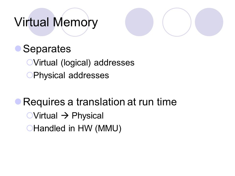 Virtual Memory Separates Requires a translation at run time