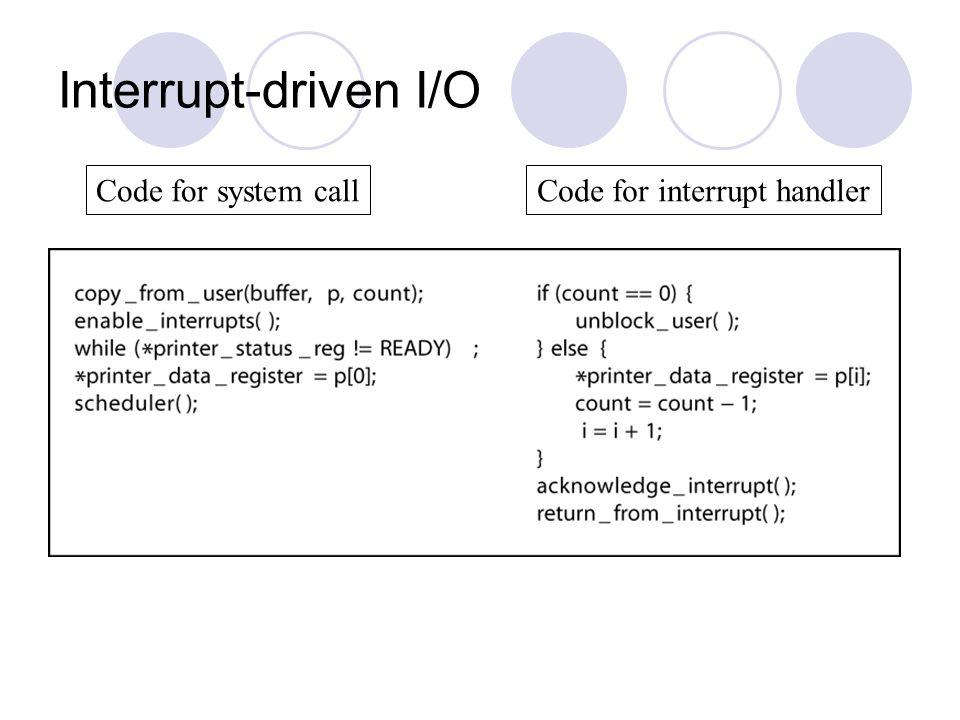 Code for interrupt handler