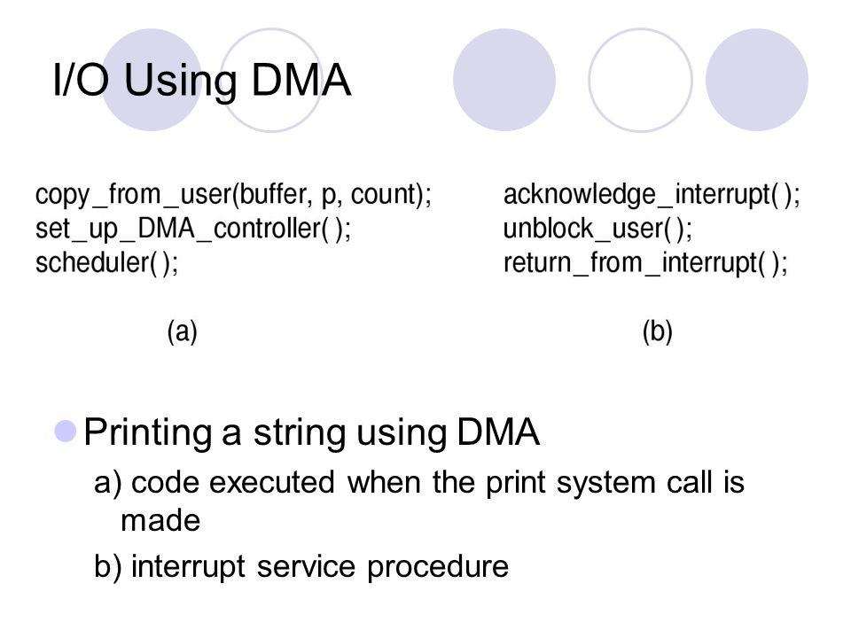 I/O Using DMA Printing a string using DMA