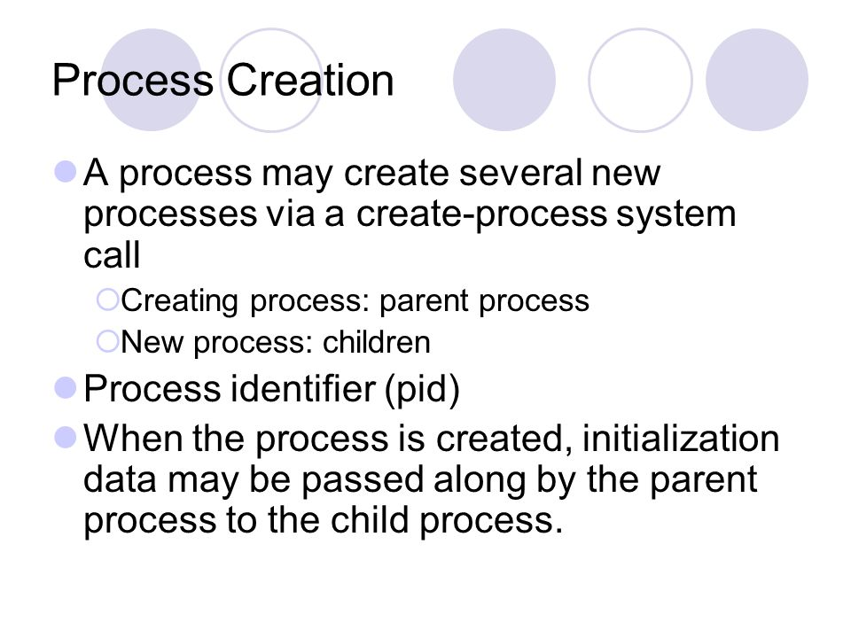 Process Creation A process may create several new processes via a create-process system call. Creating process: parent process.