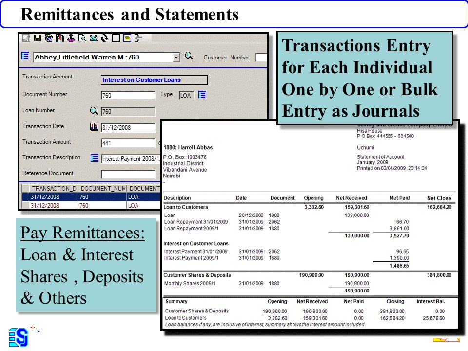 Remittances and Statements