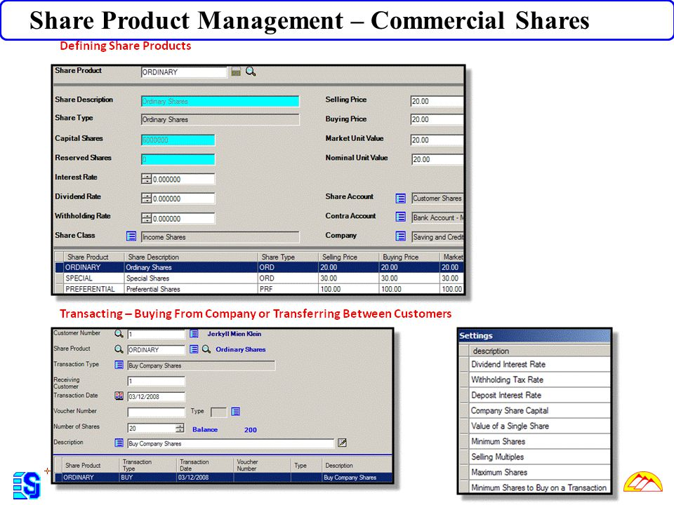 Share Product Management – Commercial Shares