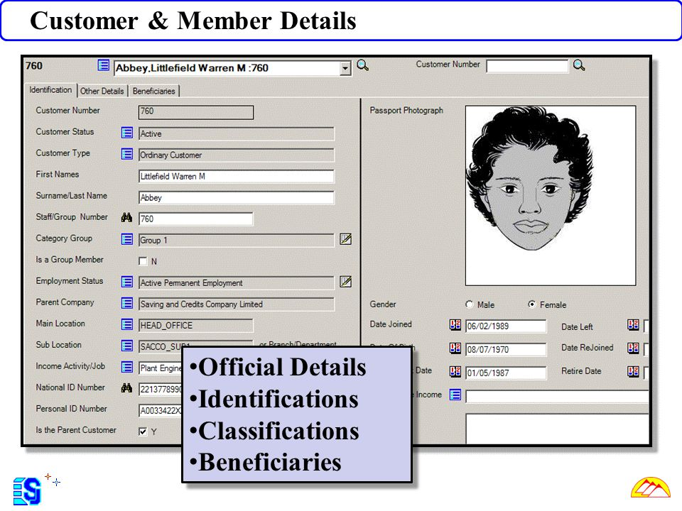 Customer & Member Details