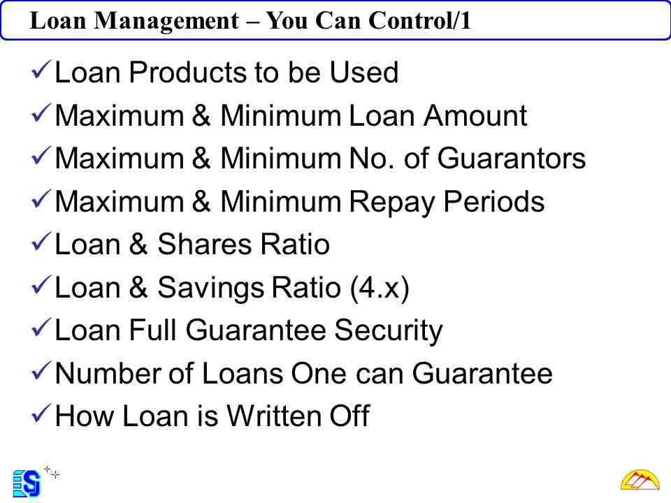 Loan Products to be Used Maximum & Minimum Loan Amount