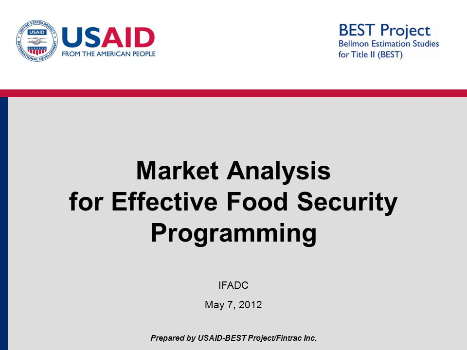 Market Analysis for Effective Food Security Programming